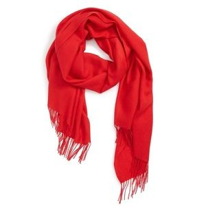 Tissue Weight Wool & Cashmere Scarf Red